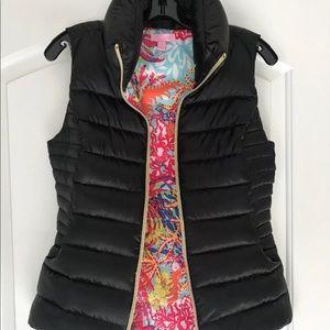Lilly Pulitzer Packable Black Puffer Vest Sz Large